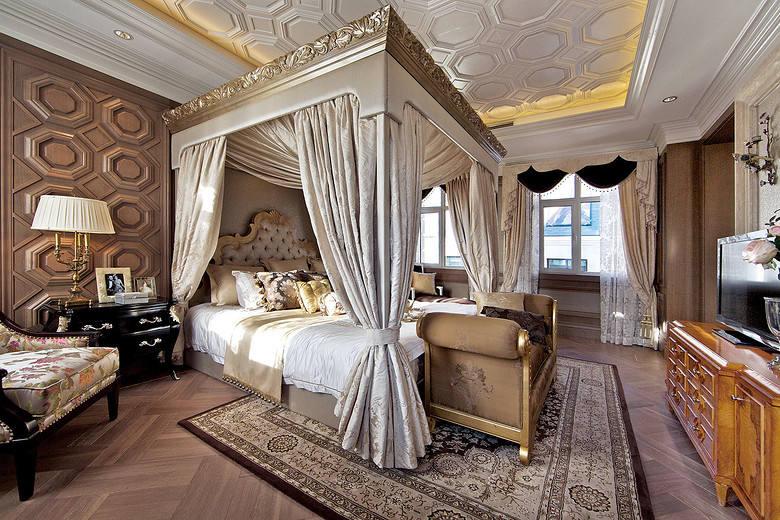 大气豪华欧式宫廷风别墅卧室软装装饰效果图_装修百科