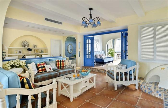 海天一色地中海風格三室兩廳裝修效果圖