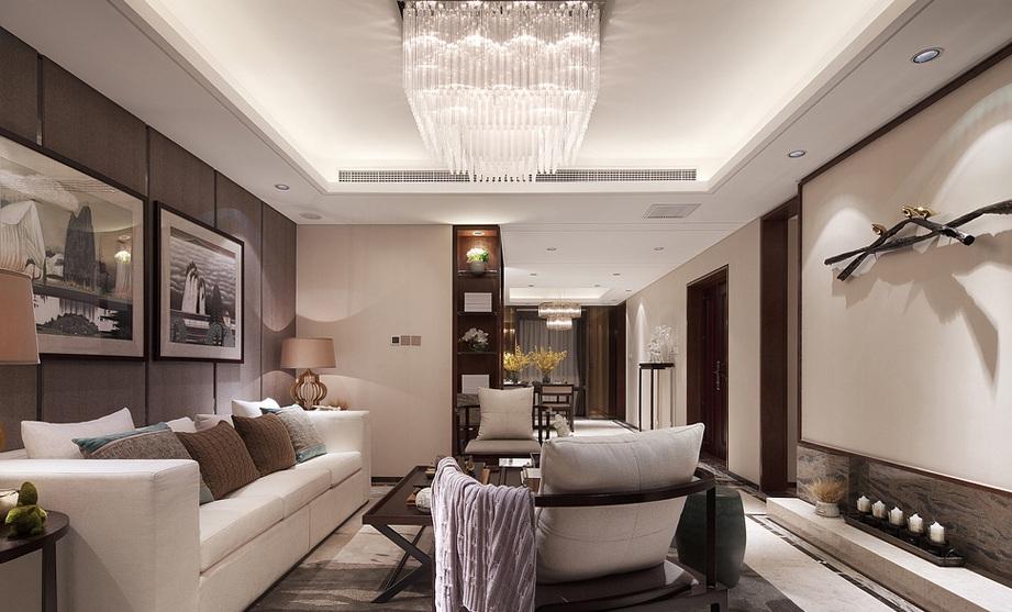 现代精美典雅中式风格大三居客厅设计装修图