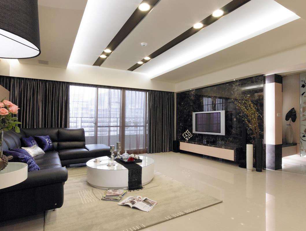 时尚现代客厅大理石电视背景墙设计_装修百科