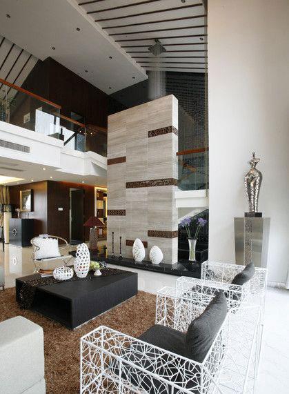 色彩鲜明摩登新中式风格别墅室内设计装修图片_装修百科