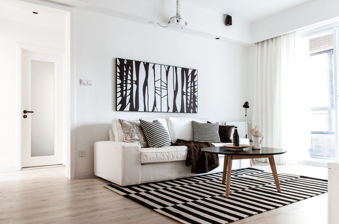黑白时尚搭配简约北欧二居装修效果图