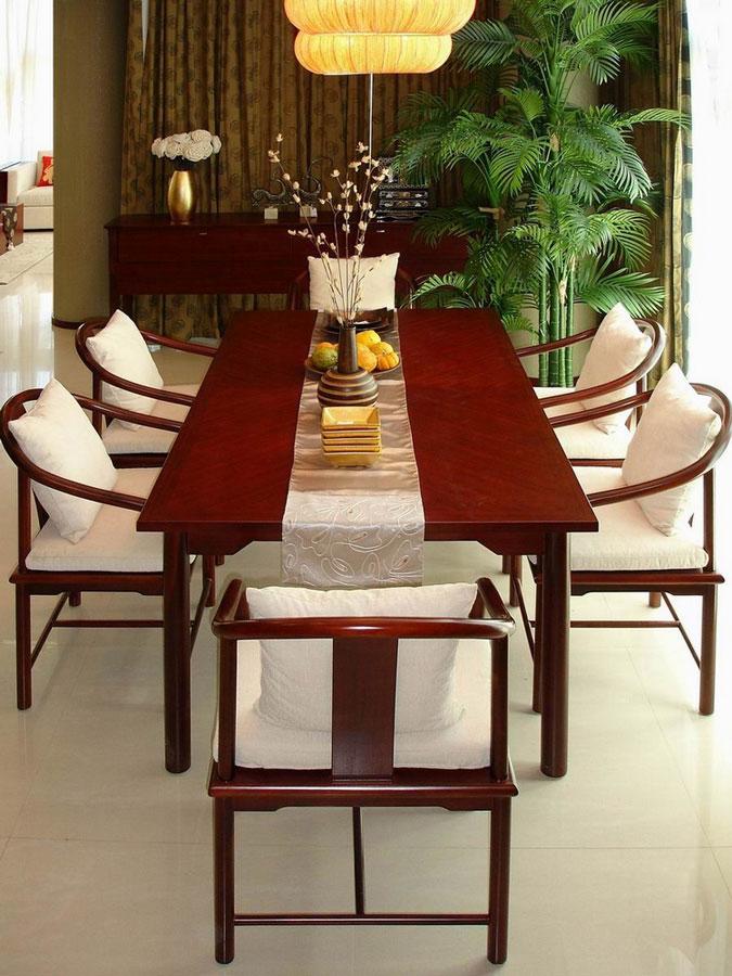 儒雅新中式风格餐厅红木餐桌椅装饰图