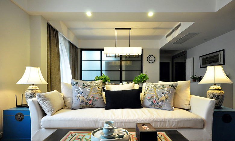 100平米古典中式装修风格三居装潢案例图