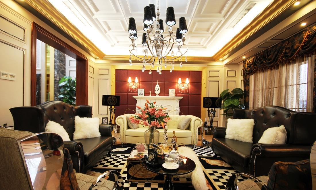 豪华摩登复古欧式客厅整体装修效果图_装修百科