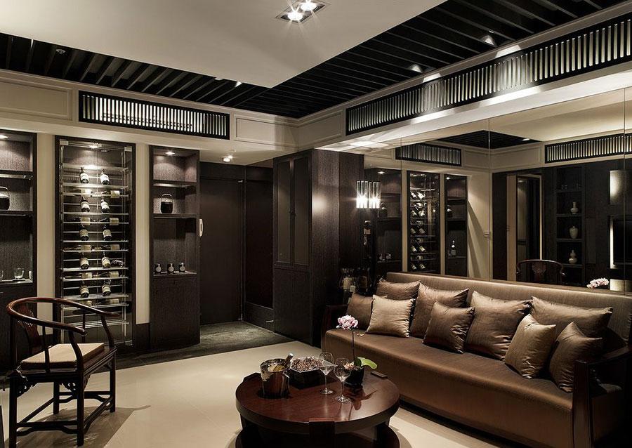 装修效果图 装修图册 深色系奢华高端现代新中式混搭三居装潢设计
