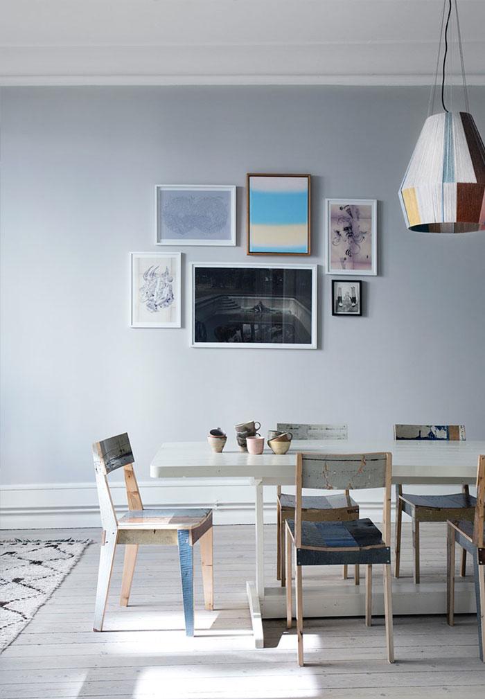 装修百科 装修效果图 装修美图 清新时尚创意灰蓝色北欧风格餐厅相片