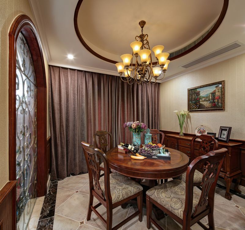 古典欧式装修风格别墅餐厅窗帘搭配效果图_装修百科