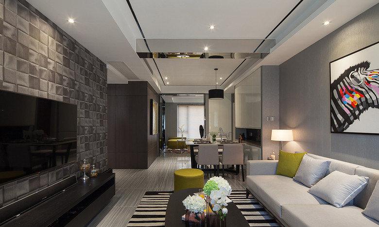 90平米現代精簡時尚二居家裝設計裝修效果圖