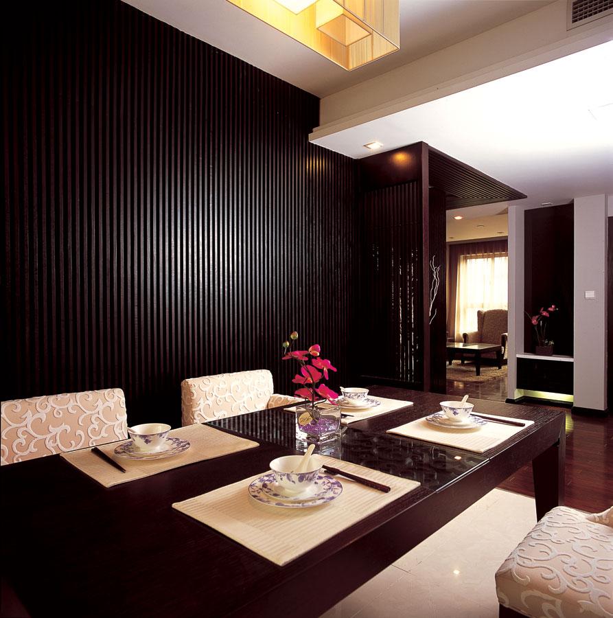简约新中式风格餐厅咖啡色实木背景墙装饰图_装修百科