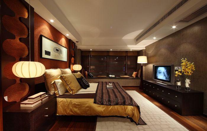摩登新中式宽敞公寓卧室设计装修图_装修百科