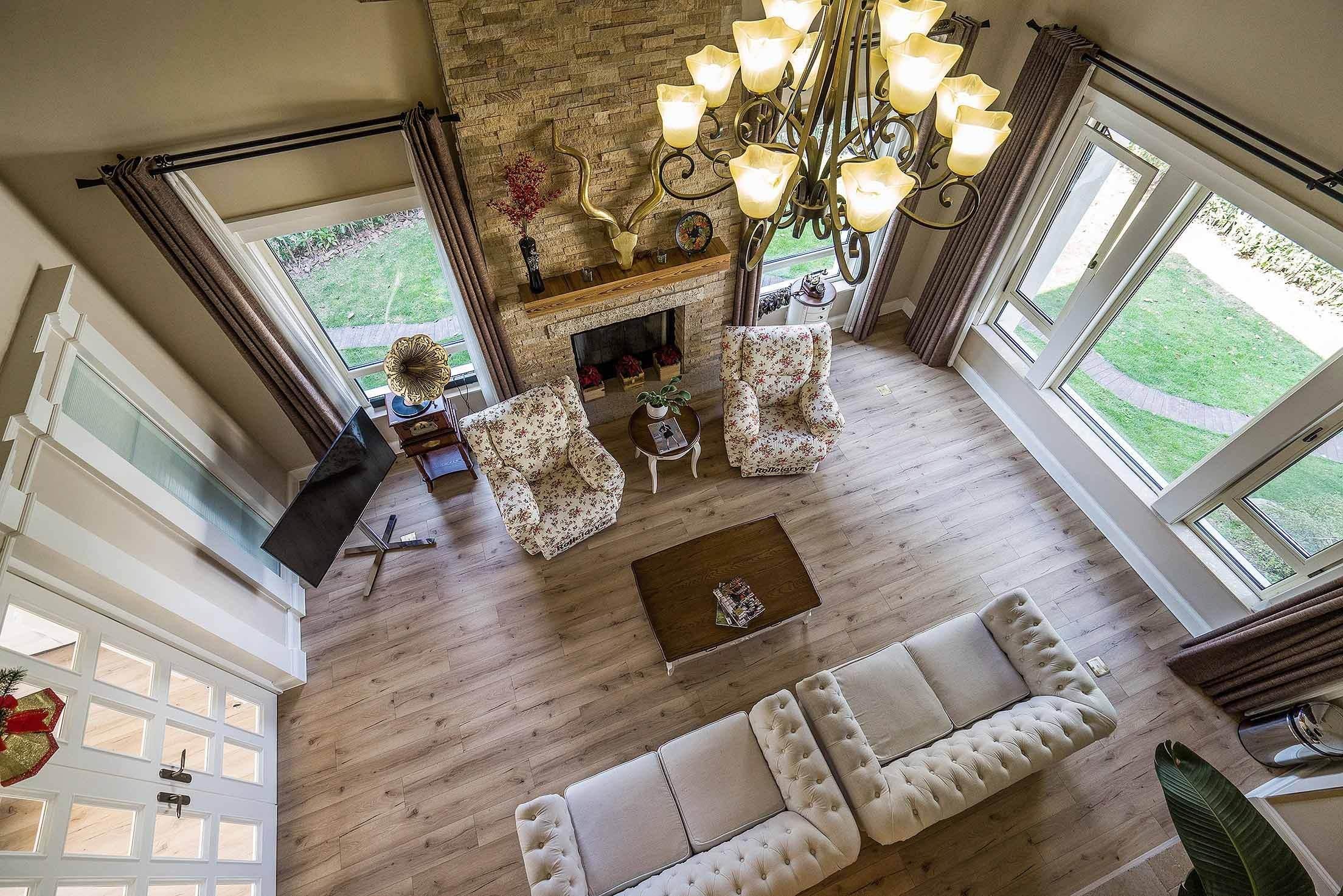 自由舒適美式鄉村風格客廳俯視效果圖_裝修百科