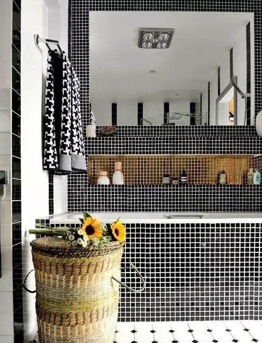 简朴田园风格卫生间黑白马赛克瓷砖装饰效果图-2017黑色田园风格楼