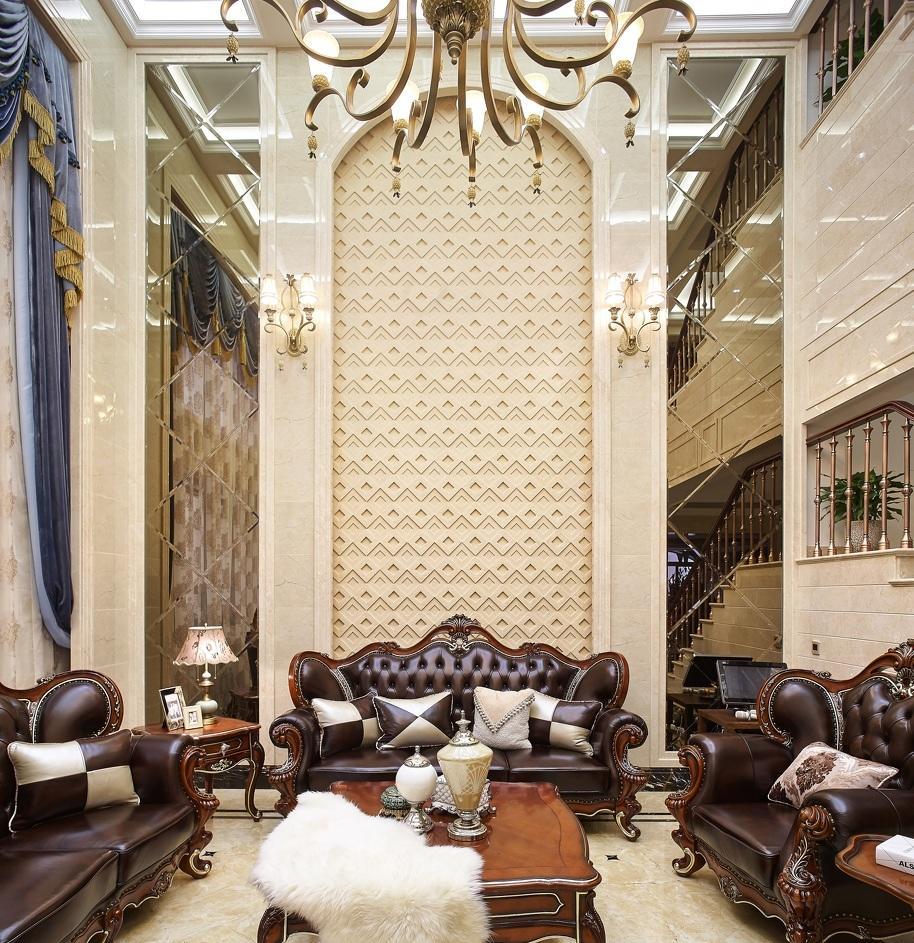 奢华宫廷欧式别墅挑高客厅背景墙效果图