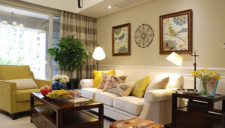 田園風光兩室客廳沙發背景墻裝修效果圖