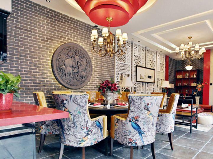 精美新古典東南亞中式混搭別墅室內設計效果圖