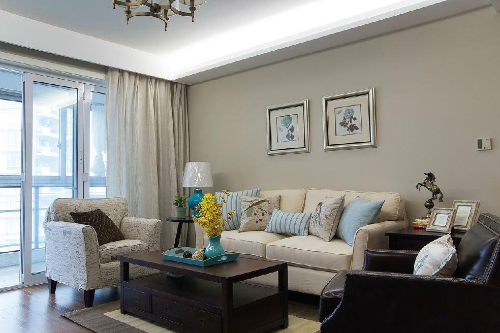 89平古朴美式风格三居装修效果图