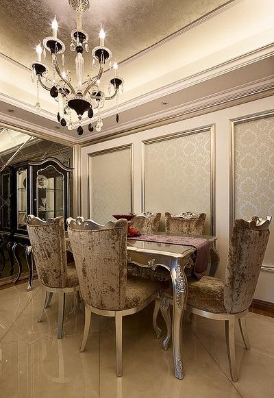 高贵大气欧式餐厅餐桌椅装饰效果图_装修百科
