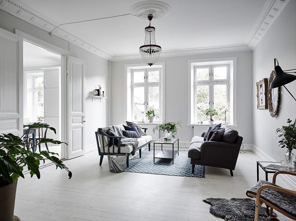 纯净时尚极简北欧风格三居客厅设计装修效果图_装修百科