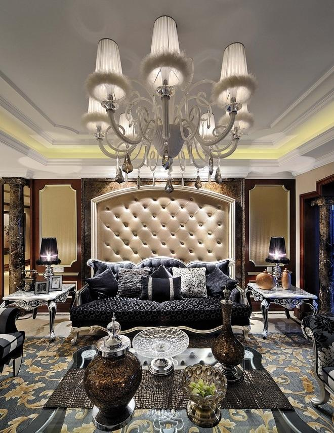 华丽摩登古典欧式风格客厅沙发软包背景墙设计图_装修百科