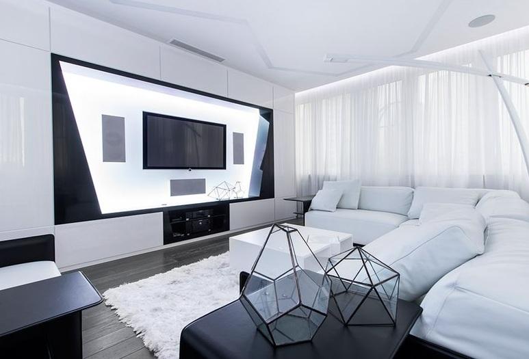 黑白時尚極簡主義客廳軟裝搭配效果圖_裝修百科
