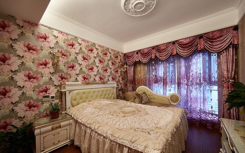 大气欧式印花卧室窗帘搭配效果图_装修百科