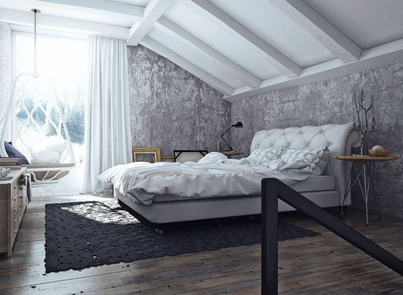 灰白雅致简约风格复式斜顶卧室设计装修效果图_装修百科