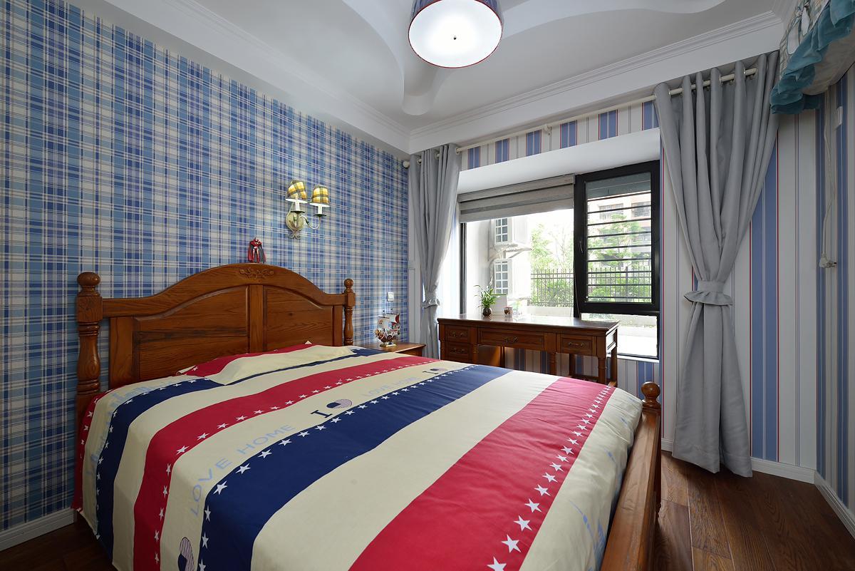 藍色布藝美式鄉村風格臥室設計裝飾效果圖_裝修百科