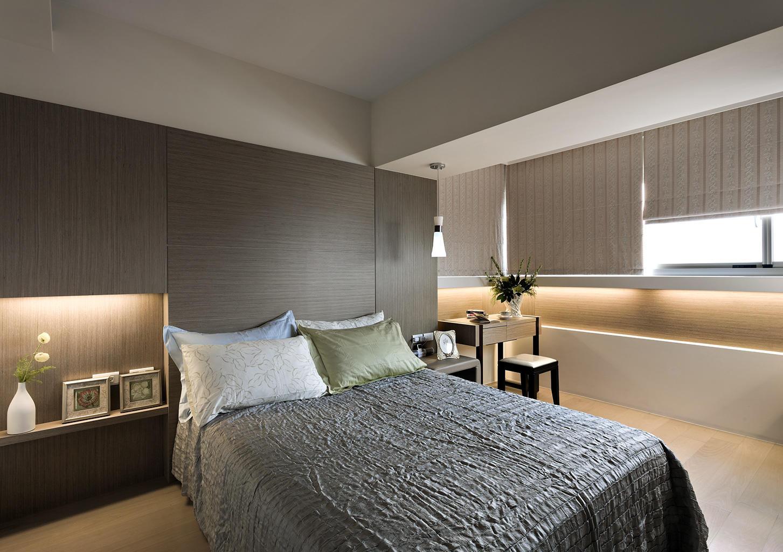 简约优雅装修风格卧室实木背景墙设计