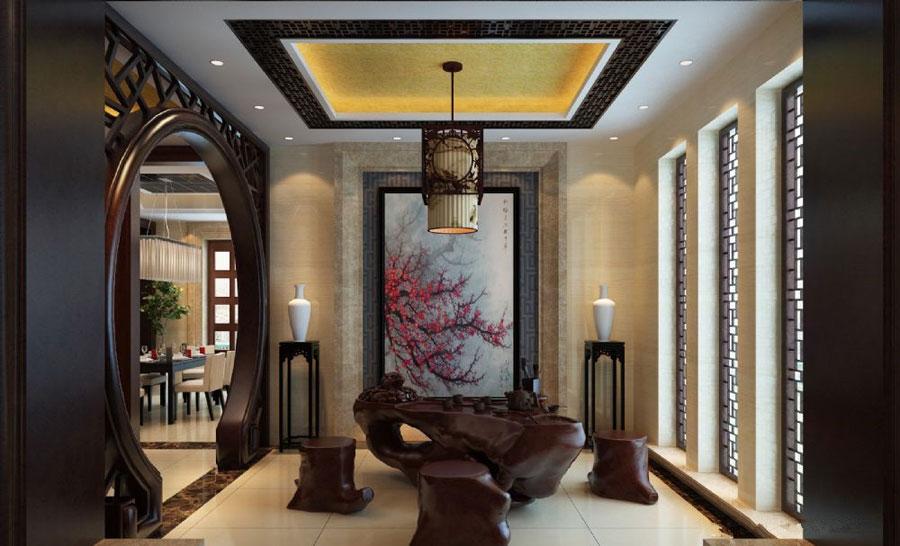 文雅和谐新古典中式风格别墅小茶室设计效果图_装修百科