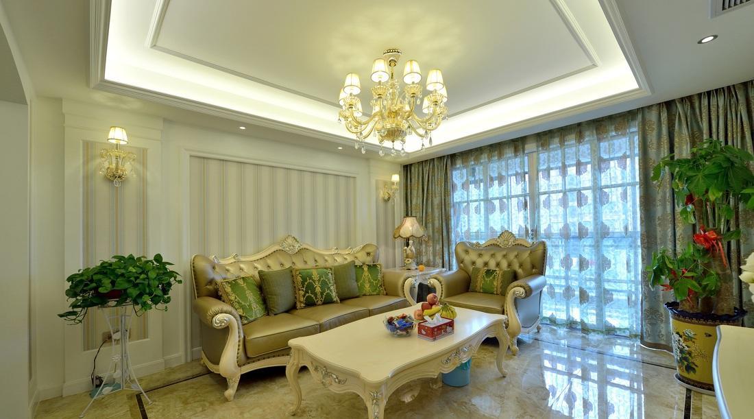 浅绿色欧式风格客厅装修效果图