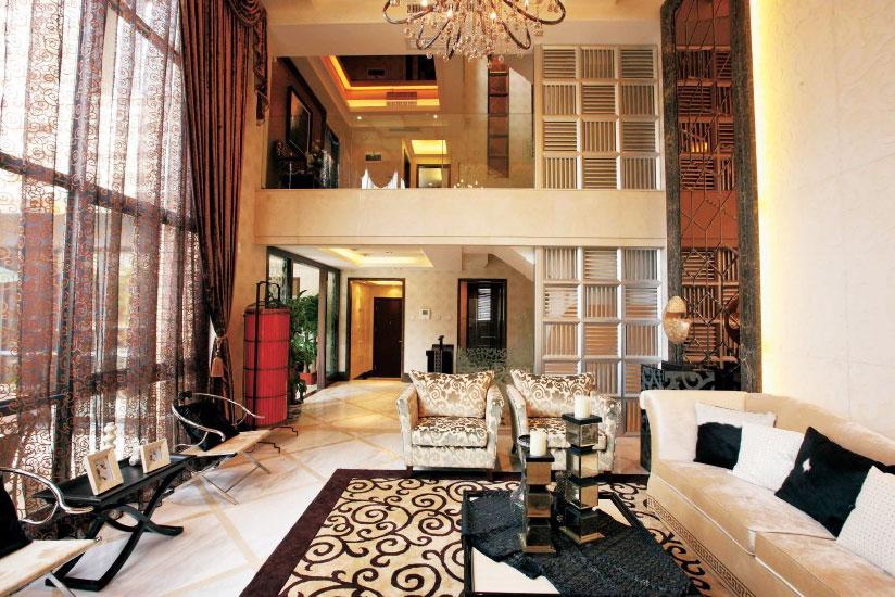 豪华摩登新中式风格别墅挑高客厅设计装修效果图_装修百科