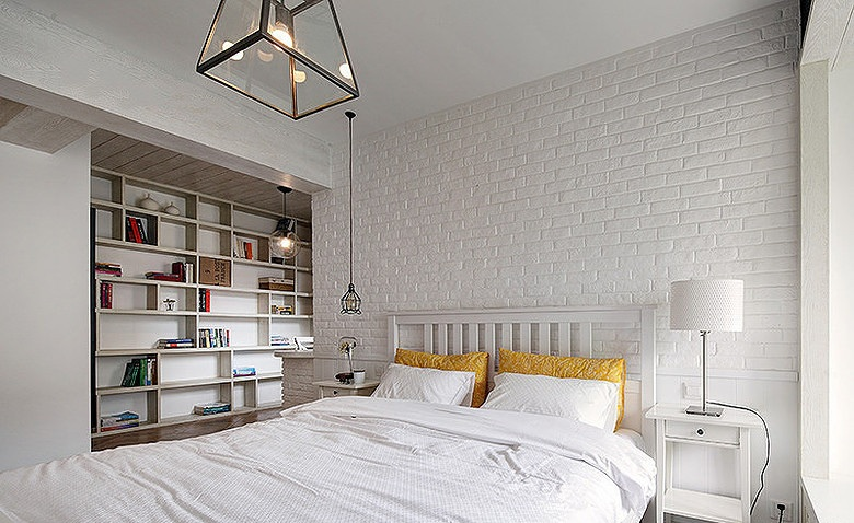 白色北欧风格卧室收纳柜设计装修效果图_装修百科