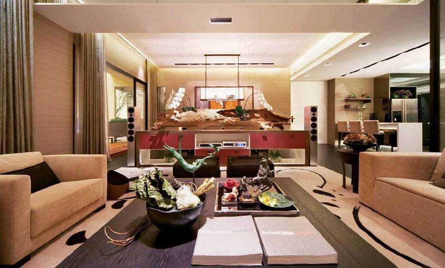 低奢温馨中式装修风格客厅软装装饰效果图_装修百科
