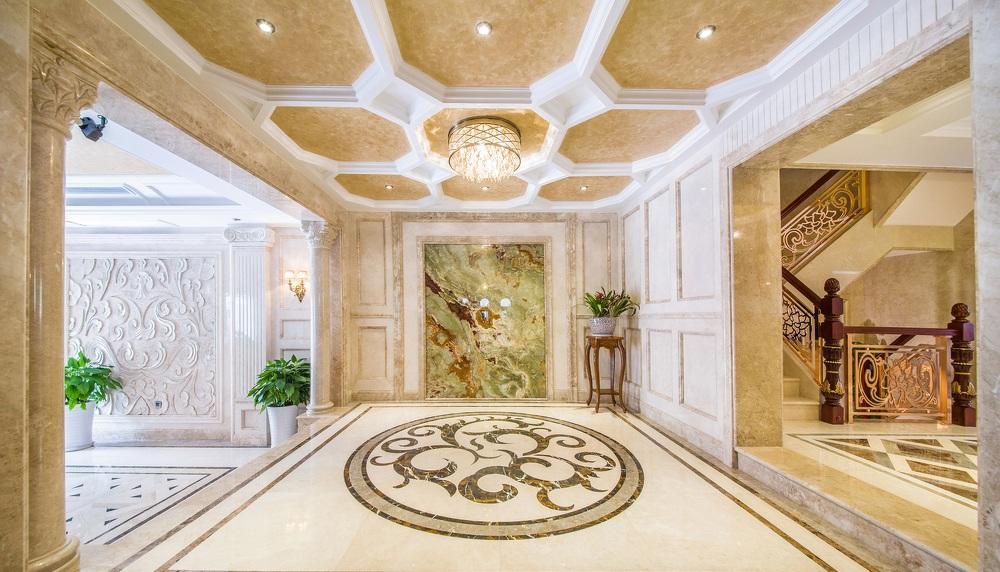 顶级豪华欧式古典风格玄关吊顶设计欣赏图_装修百科