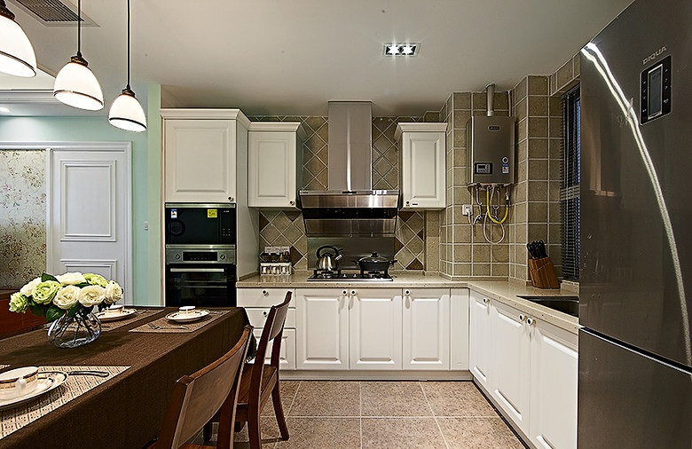 装修效果图 装修美图 美式风格l型开放式厨房设计装潢图
