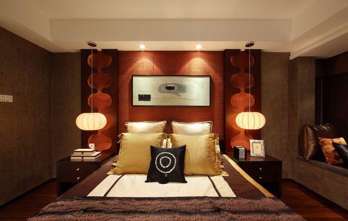 红色摩登复古中式风格卧室设计装修效果图_装修百科