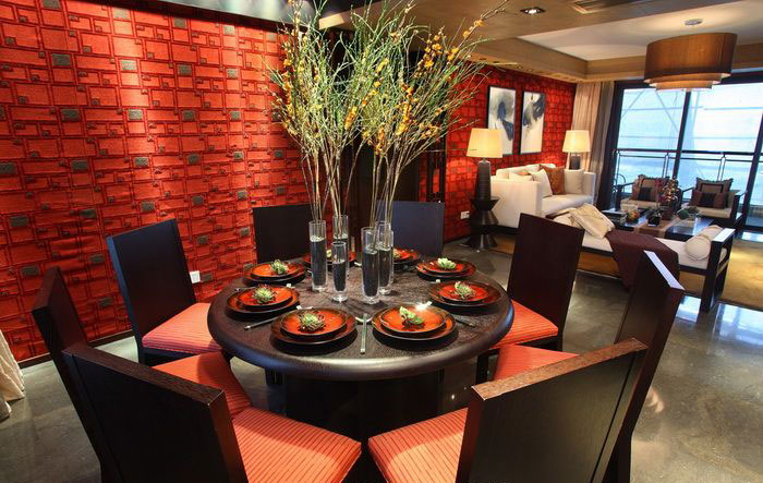 紅色摩登復古中式風格餐廳背景墻效果圖_裝修百科