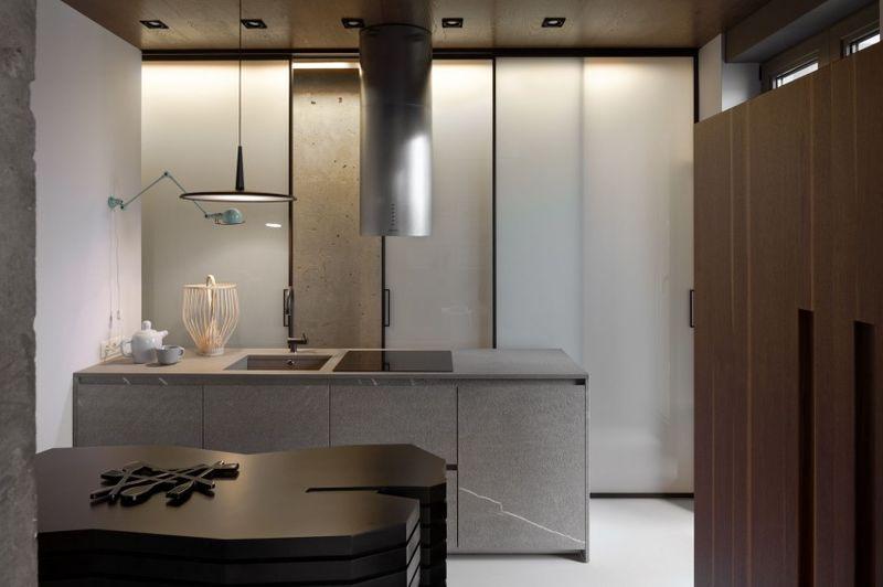 咖啡色現代裝修風格公寓廚房設計裝修圖