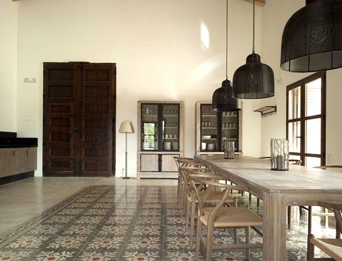 复古简欧风格别墅餐厅大理石地板配置图_装修百科