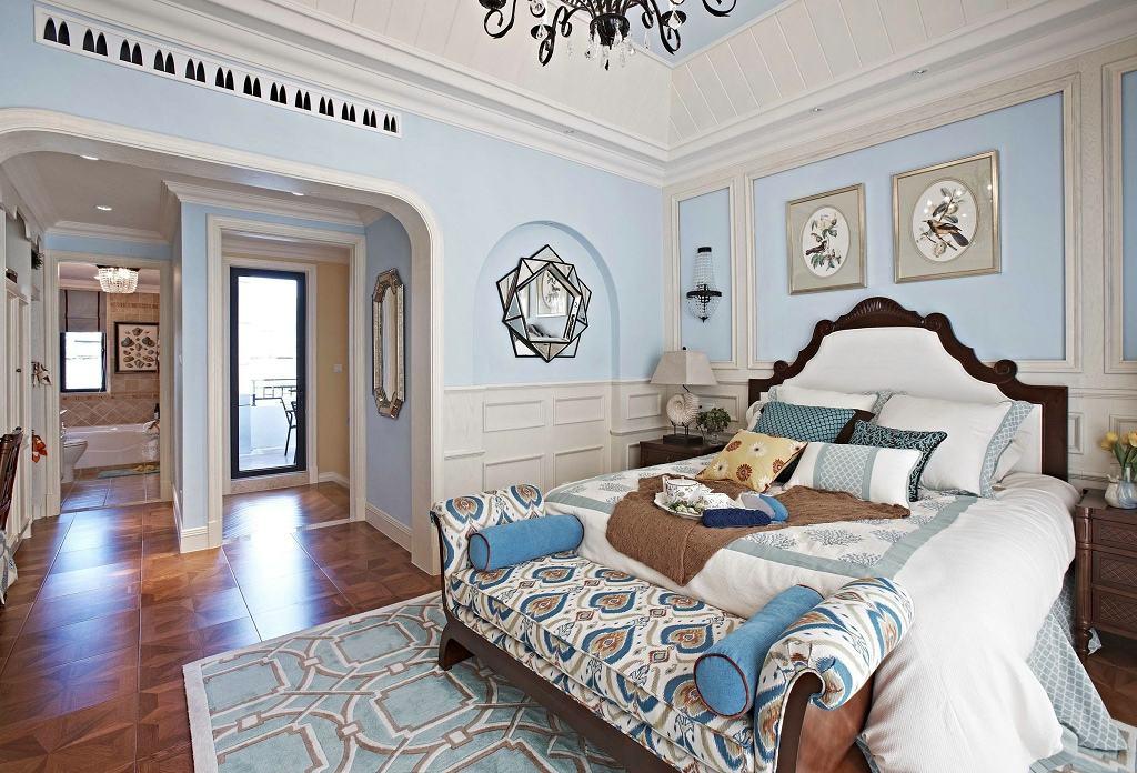 藍白清涼歐式現代別墅臥室裝修效果欣賞圖