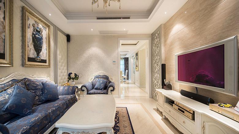 唯美小资情调简欧风格三室两厅设计图