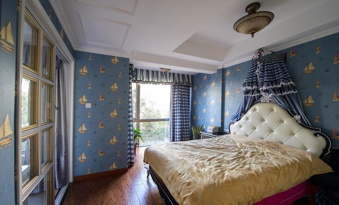 时尚蓝色欧式儿童房落地窗设计装修效果图_装修百科