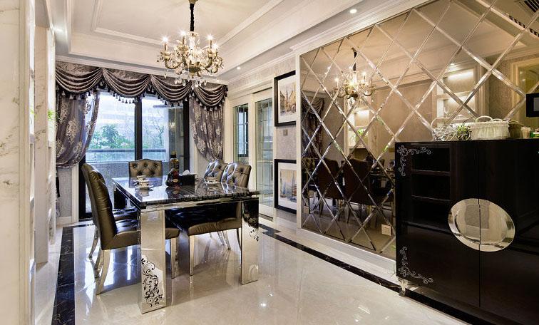 现代欧式奢华风格餐厅玻璃背景墙设计效果图_装修百科