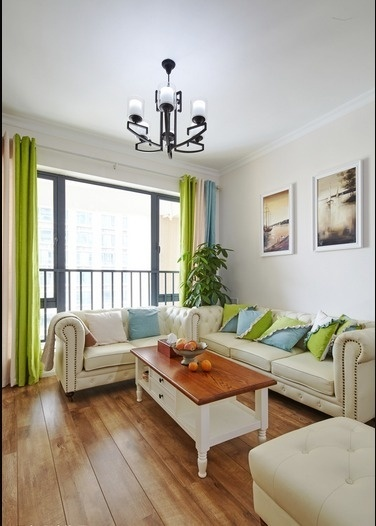 原木清新田园风格二居室客厅栏杆设计效果图_装修百科