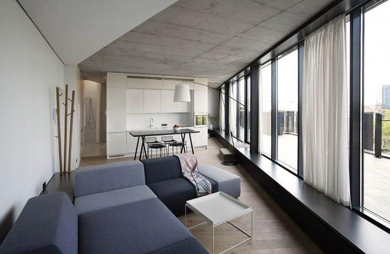 極簡小戶型家居室內美巖水泥吊頂效果圖