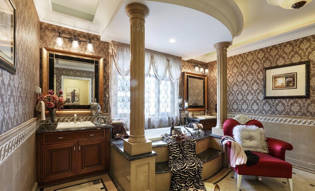 豪华欧式古典风格别墅卫生间柱式设计装修效果图_装修百科