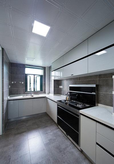 高雅田園混搭風格L型廚房設計裝修效果圖