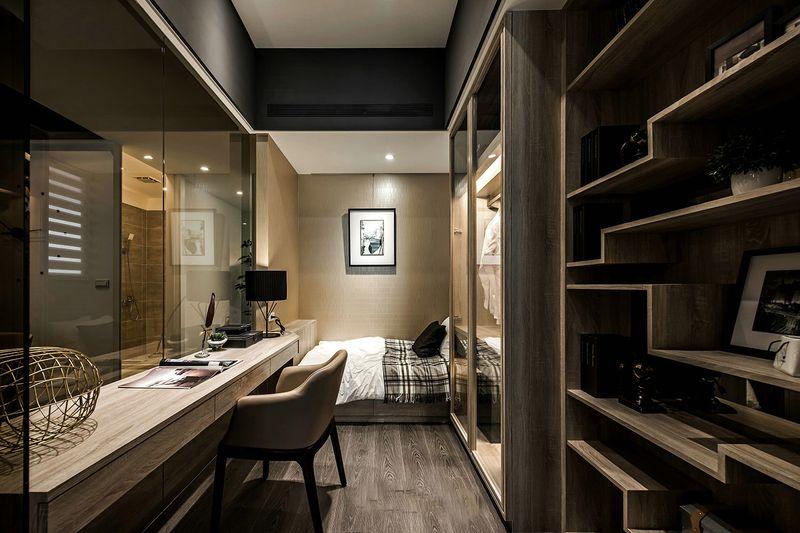 沉稳现代复古公寓书房兼侧卧室装潢案例图_装修百科