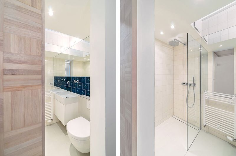 纯白明亮极简小户型转角卫生间设计装修案例